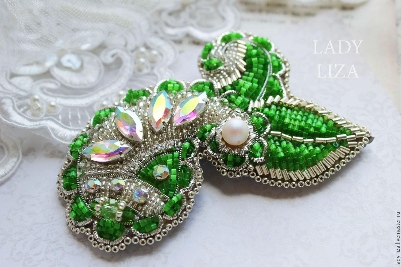 Broche Verde patrón. Broche de perlas. Bordado con cuentas. Paisley ...