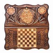 Подарки к праздникам handmade. Livemaster - original item Backgammon carved handmade lion 1 Art. .001. Handmade.