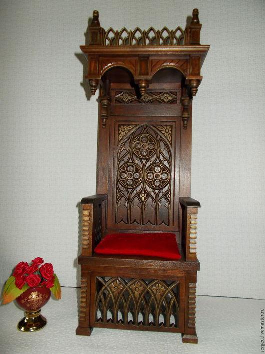 Кукольный дом ручной работы. Ярмарка Мастеров - ручная работа. Купить Кресло - трон с навершием в готическом стиле. Handmade.