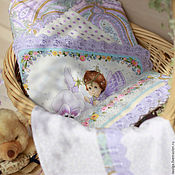"""Куклы и игрушки ручной работы. Ярмарка Мастеров - ручная работа Постельное белье для куклы """"Фиалковый ангел"""". Handmade."""