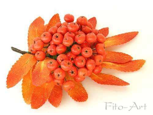 Броши ручной работы. Ярмарка Мастеров - ручная работа. Купить Осенняя брошь с ягодой рябины. Handmade. Рябина, подарок женщине