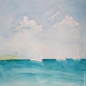 Картины и панно handmade. Livemaster - original item The sea and yachts Watercolour Pattern. Handmade.
