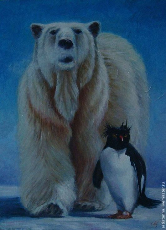 """Животные ручной работы. Ярмарка Мастеров - ручная работа. Купить """"Дружба без границ"""". Handmade. Голубой, медведь, пингвин, зима"""
