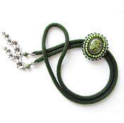 Украшения ручной работы. Ярмарка Мастеров - ручная работа Зелёный галстук-боло со змеевиком. Handmade.