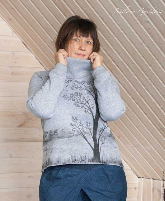 """Кофты и свитера ручной работы. Ярмарка Мастеров - ручная работа. Купить Теплый свитер из футера """"Шаманский лес"""". Handmade. Однотонный"""