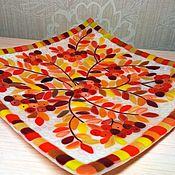 """Посуда ручной работы. Ярмарка Мастеров - ручная работа Блюдо """"Осенняя рябина"""" фьюзинг. Handmade."""