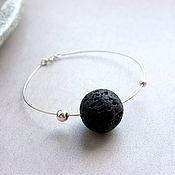 Украшения handmade. Livemaster - original item Bracelet circle of volcanic lava in silver. Handmade.