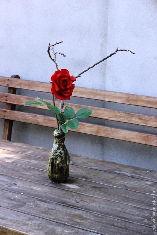 Интерьерные композиции ручной работы. Ярмарка Мастеров - ручная работа. Купить Роза. Handmade. Коричневый, искусственные цветы