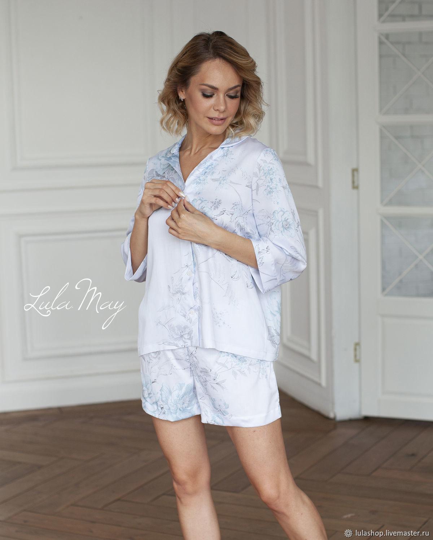 "Пижама с шортами ""Sieste"" из тенселя голубая, Пижамы, Москва,  Фото №1"