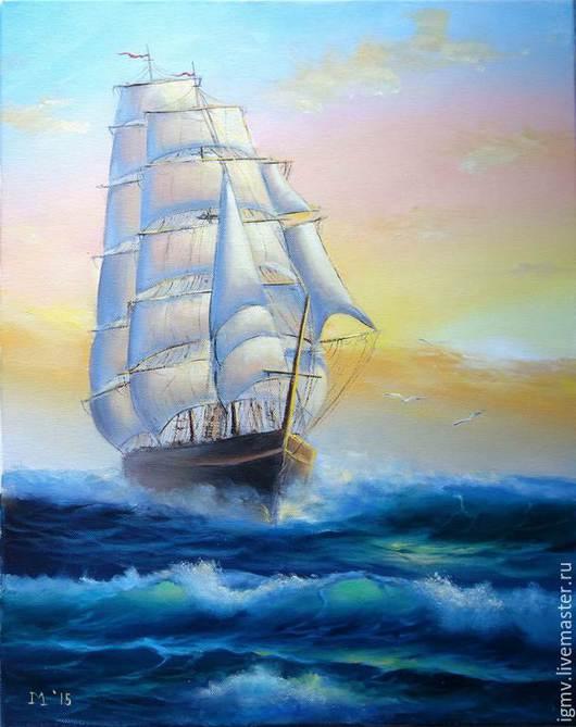 """Пейзаж ручной работы. Ярмарка Мастеров - ручная работа. Купить Картина маслом морской пейзаж """"На всех парусах"""". Handmade."""