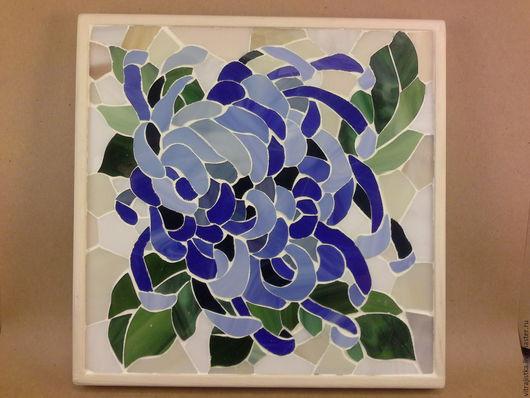 """Картины цветов ручной работы. Ярмарка Мастеров - ручная работа. Купить мозаика из стекла ,, хризантема"""". Handmade. Мозаика из стекла, прованс"""