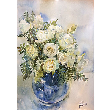 Картины и панно ручной работы. Ярмарка Мастеров - ручная работа Картина Розы в кобальтовой вазе. Handmade.