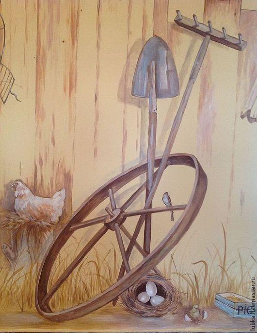 Декор поверхностей ручной работы. Ярмарка Мастеров - ручная работа. Купить Роспись на кухне Сельский  двор:). Handmade. Роспись стен