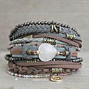 Украшения handmade. Livemaster - original item Bracelet with rose quartz and tourmaline