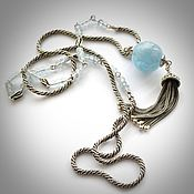 Necklace handmade. Livemaster - original item Silver necklace with aquamarine Twist (aquamarines, 925 silver). Handmade.