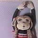 Игрушки животные, ручной работы. текстильная обезьянка. Панченко Наталья (proekt1000). Ярмарка Мастеров. Косы, бусины