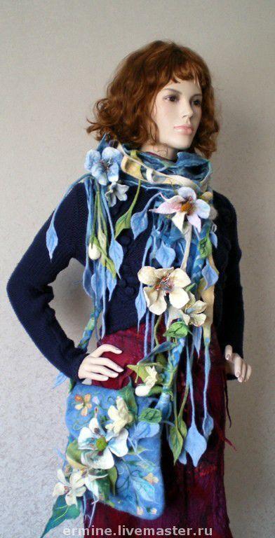 Handbags handmade. Livemaster - handmade. Buy set'Wave'.Bag, scarf, wool merino