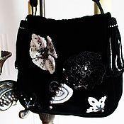 Сумки и аксессуары handmade. Livemaster - original item Handbag evening, Black theatrical velvet white. Handmade.