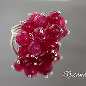 Украшения handmade. Livemaster - original item Raspberry wine-ring cluster with ruby chalcedony. Handmade.