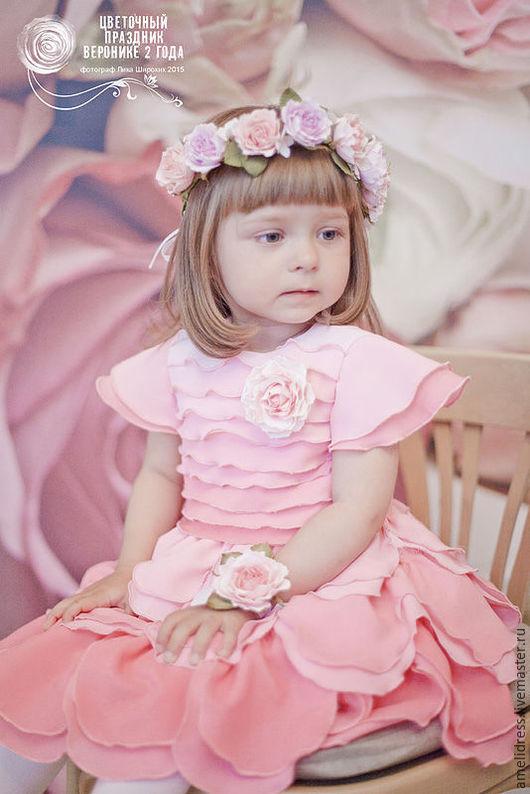 Одежда для девочек, ручной работы. Ярмарка Мастеров - ручная работа. Купить Цветочное розовое платье. Handmade. Розовый, розочка