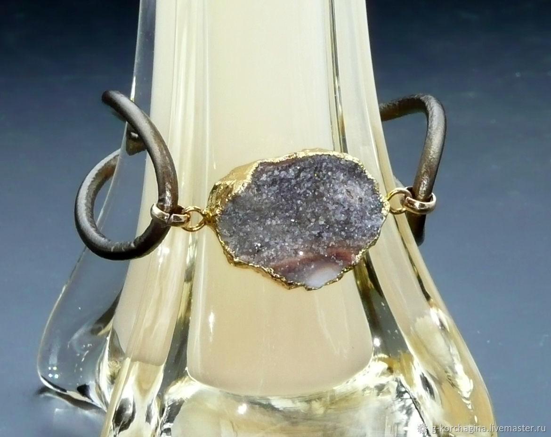 Bracelet-lace leather with gray agate with quartz Druze, Cord bracelet, Voronezh,  Фото №1