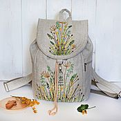 Сумки и аксессуары handmade. Livemaster - original item Linen backpack with embroidery