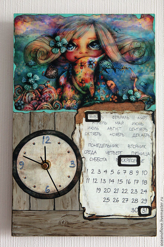 Часы для дома ручной работы. Ярмарка Мастеров - ручная работа. Купить Часы-календарь настенные Маленькая  девочка у моря. Handmade.