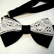 Аксессуары ручной работы. Ярмарка Мастеров - ручная работа Галстук бабочка черная с кружевом галстук-бабочка чернобелый. Handmade.
