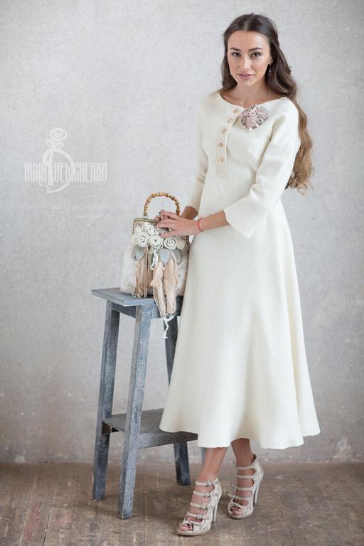 Платья ручной работы. Ярмарка Мастеров - ручная работа. Купить Валяное платье «Bride». Handmade. Белый, ирина демченко, нежность