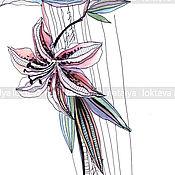 """Картины и панно handmade. Livemaster - original item Interior graphics """"Lily of the East"""" the author`s style.. Handmade."""