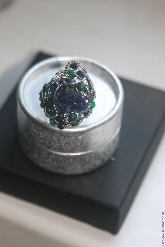 """Кольца ручной работы. Ярмарка Мастеров - ручная работа. Купить кольцо""""Азурмалахит..."""". Handmade. Комбинированный, оберег, нихром"""