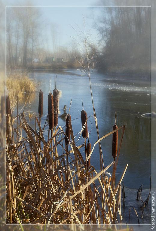 Фотокартины ручной работы. Ярмарка Мастеров - ручная работа. Купить Первые морозы. Handmade. Пейзаж, река, лед, осень