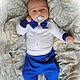 """Для новорожденных, ручной работы. Ярмарка Мастеров - ручная работа. Купить Комплект на выписку  """"Мистер-3. Королевский синий"""" от Делавьи. Handmade."""