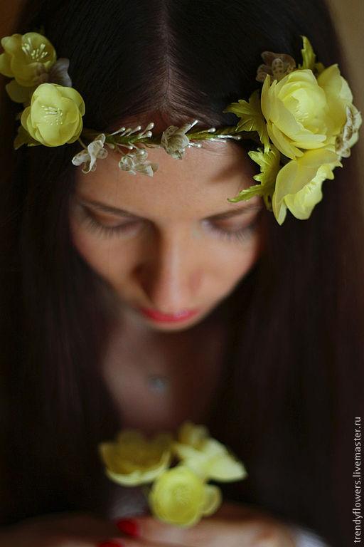 Венок на голову Элегия. Цветы из шелка