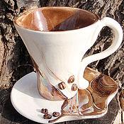 """Посуда ручной работы. Ярмарка Мастеров - ручная работа Чайная пара """"Утренний кофе"""". Handmade."""