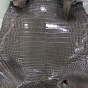 Материалы для творчества handmade. Livemaster - original item Crocodile leather, dark grey, glossy finish, custom made!. Handmade.