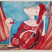 Картины и панно ручной работы. Ярмарка Мастеров - ручная работа Девушка и мандолина. Handmade.