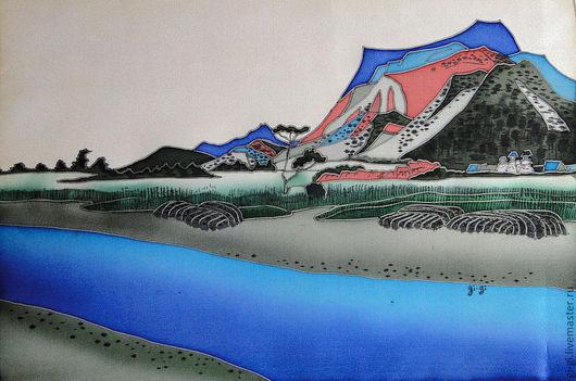 Пейзаж ручной работы. Ярмарка Мастеров - ручная работа. Купить Япония. Гора.. Handmade. Синий, голубой, красный, гора, небо