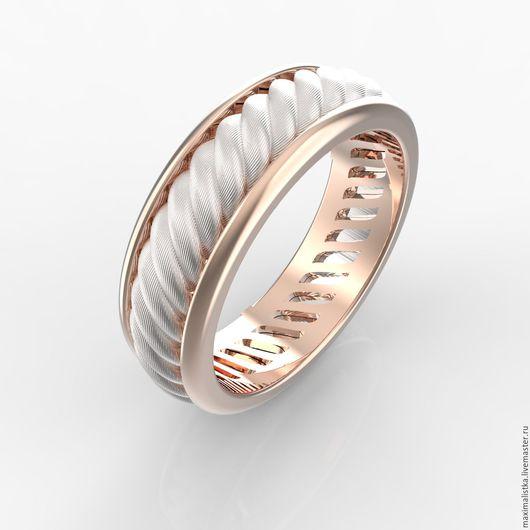 """Кольца ручной работы. Ярмарка Мастеров - ручная работа. Купить Обручальное кольцо """"Канат"""" золото красное и белое, золотое, женское. Handmade."""