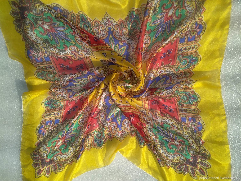 Bright scarf, silk vintage Germany, Vintage accessories, Novorossiysk,  Фото №1