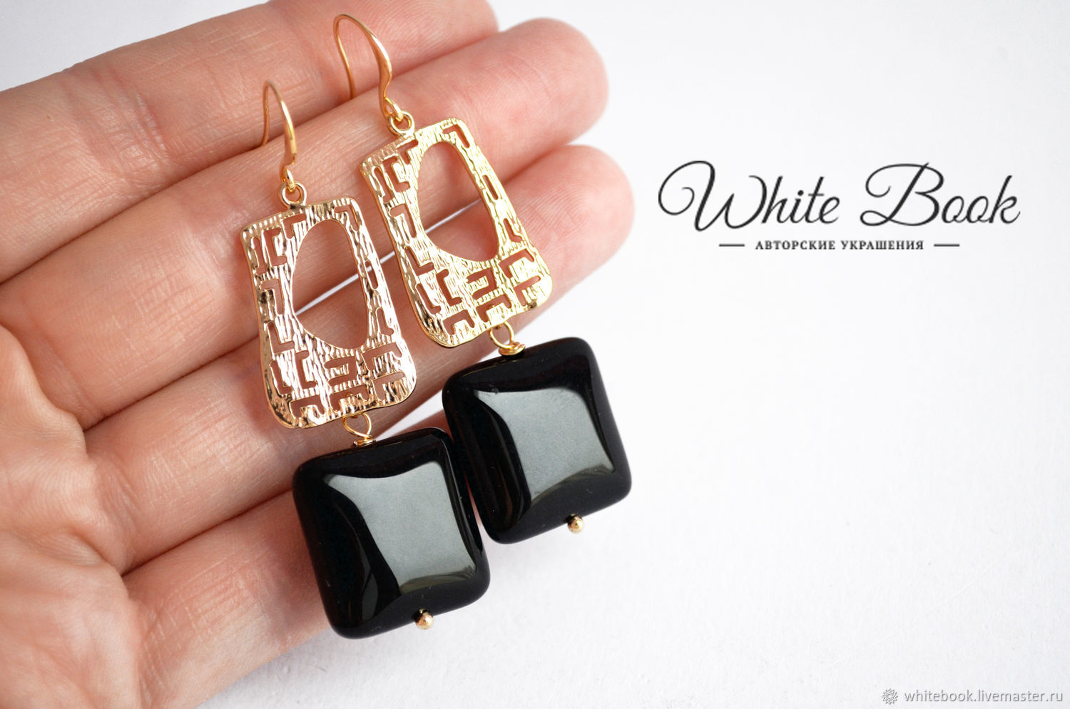 Earrings with black agate squares, gilt, Earrings, Moscow,  Фото №1