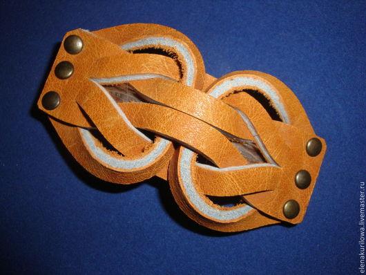 Заколки ручной работы. Ярмарка Мастеров - ручная работа. Купить Заколка из натуральной кожи Рыжая. Handmade. Оранжевый