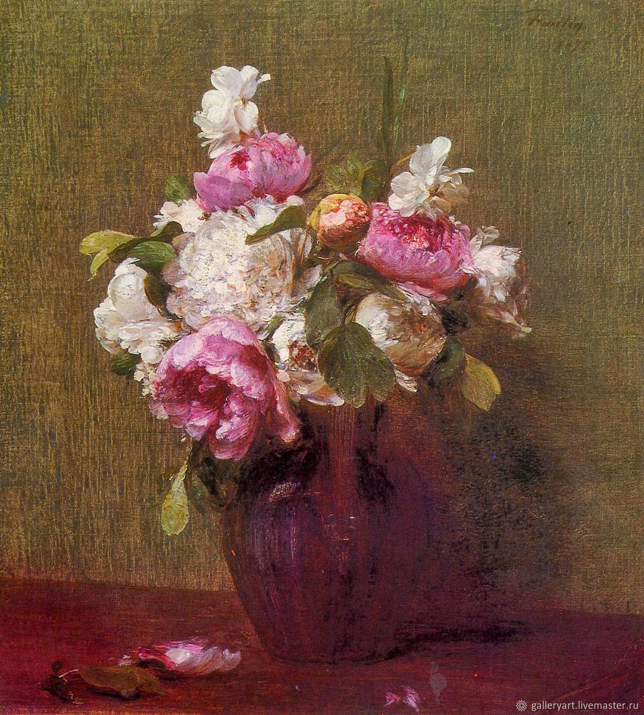 Картины цветов ручной работы. Ярмарка Мастеров - ручная работа. Купить Картина Белые пионы, розы, нарциссы. Handmade. Живопись