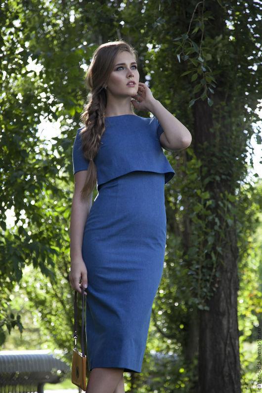 Платья ручной работы. Ярмарка Мастеров - ручная работа. Купить Платье футляр с пелериной. Handmade. Синий, офисное платье, джинса