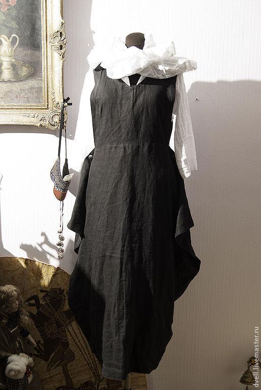 Платья ручной работы. Ярмарка Мастеров - ручная работа. Купить Лен Сарафан  конверт, уни, стиль для бохо леди. Handmade.