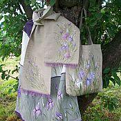 Одежда handmade. Livemaster - original item Linen : Skirt Bag and scarf Irises Hand painted. Handmade.