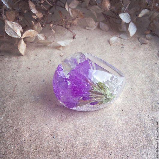 Кольца ручной работы. Ярмарка Мастеров - ручная работа. Купить Кольцо с сухоцветами. Handmade. Фиолетовый, прозрачное кольцо, кольцо для девушки