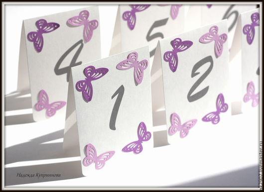 Свадебные аксессуары ручной работы. Ярмарка Мастеров - ручная работа. Купить Номерки на столы с бабочками. Handmade. Свадебные аксессуары, бабочки
