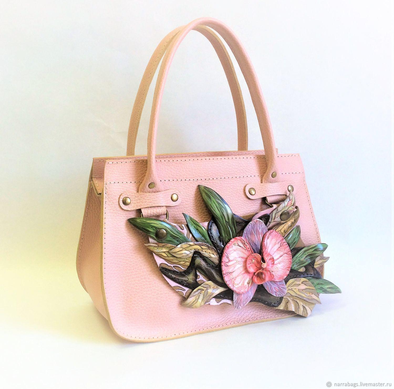 """Кожаная сумка """"розовая орхидея"""", Классическая сумка, Подольск,  Фото №1"""