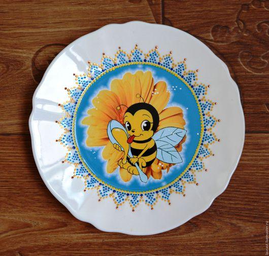Декоративная посуда ручной работы. Ярмарка Мастеров - ручная работа. Купить Счастливая пчелка. Handmade. Тарелка из стекла, Тарелка декоративная